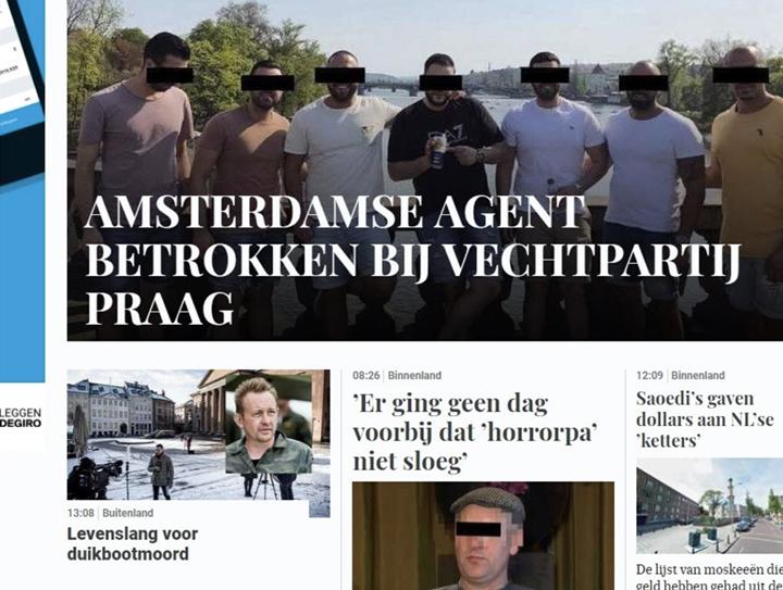 A telegraaf.nl címlapján az egyik férfi instagramjára kitett, azóta eltávolított fotó látható.