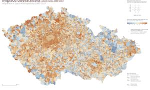 A vezető képen Csehország felé irányuló külföldi bevándorlók arányát mutatja 2000 és 2017 között. Forrás: Atlasobyvatelstva.cz