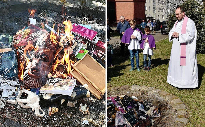 A vezető képen a lengyelországi könyvégetés pillanatait látják Koszalin városban, 2019 március 31-én. Fotó: Fundacja SMS Z NIEBA, Facebook.