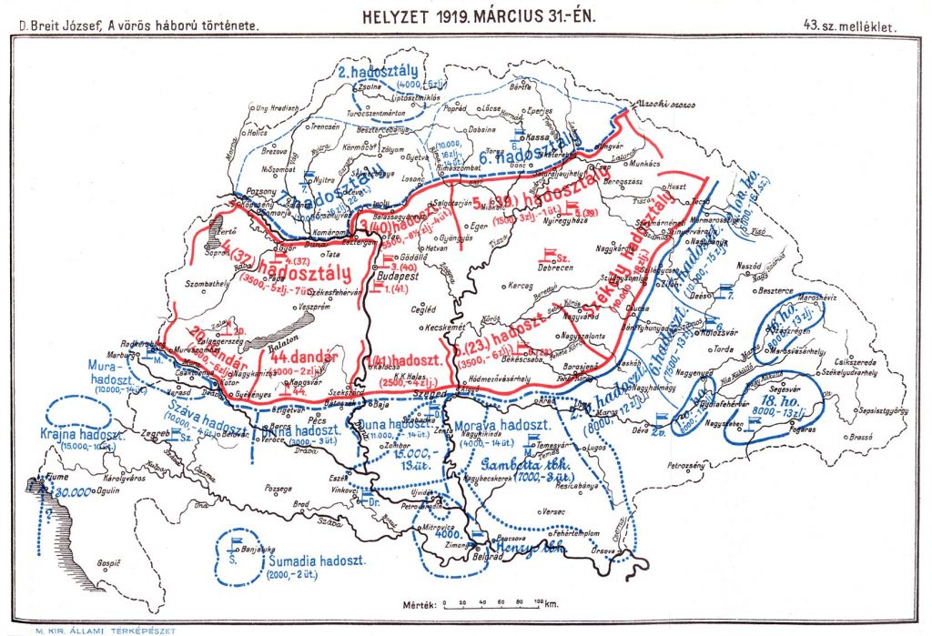 Helyzet 1919 március 31-én. Kép forrása: D. Breit József: A vörös háború története.