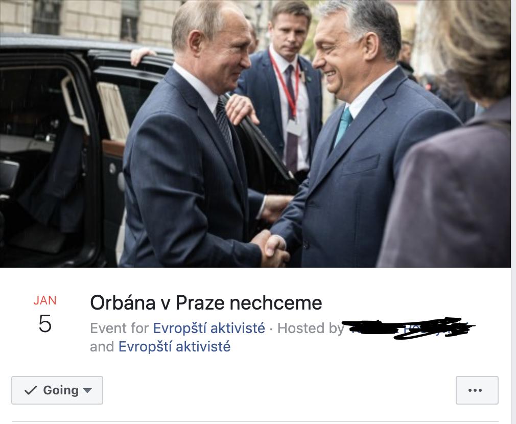 """""""Nem akarjuk Orbánt Prágában"""" zártkörű gerillaakció kezdőlapja, Facebook"""