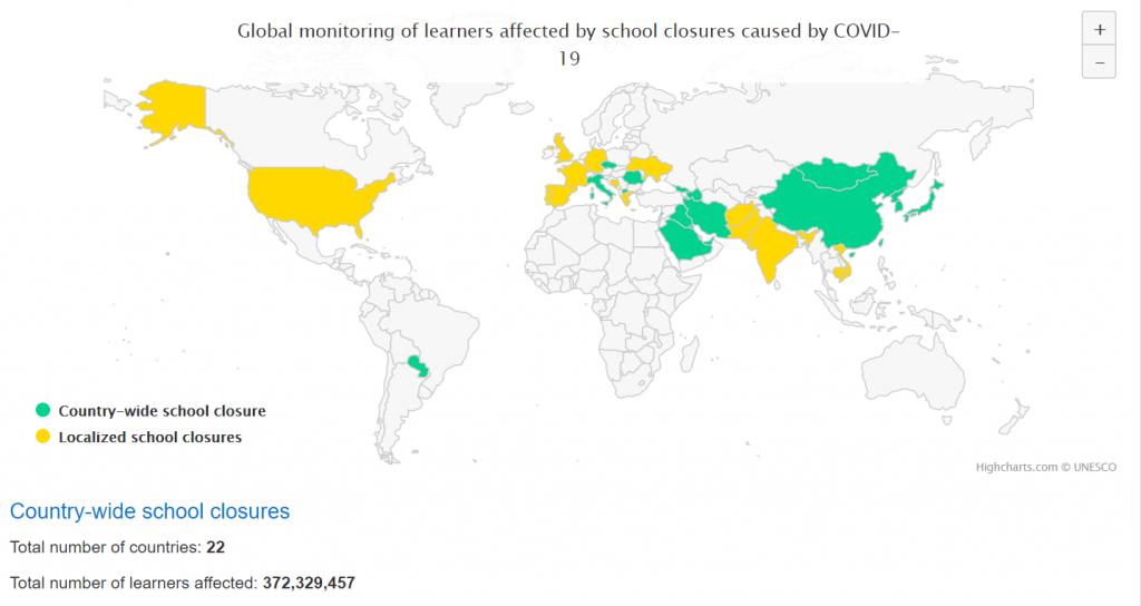 Az UNESCO legfrissebb adatai szerint világszerte 22 országban zárták be a teljes iskolahálózatot, amely több, mint 370 millió gyereket érint.
