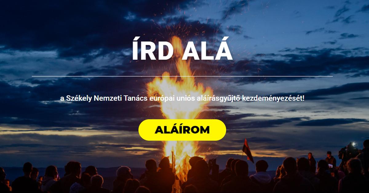 Vezető képünkön az Írd Alá! aláírásgyűjtési akció honlapjának vezető képét látják. Screenshot.