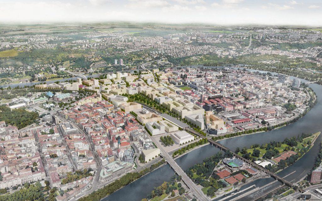 A mai Letna és Holeovice városrészek között található Bubny-Zátory 110 hektáros rozsdaövezet beépitési terve 2021-2040. Kép forrása: MČ Praha 7