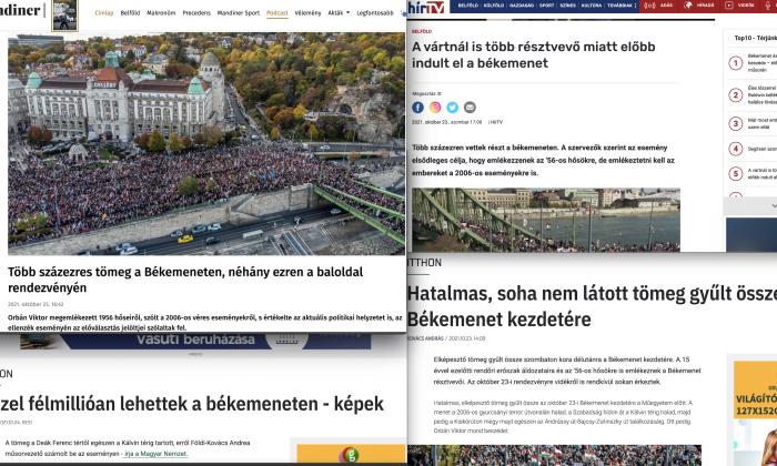 Vezető képünkön a 2021 október 23-i budapesti Békemenet visszhangját olvashatják az orbánista kormányzati propaganda felületein, montázs.